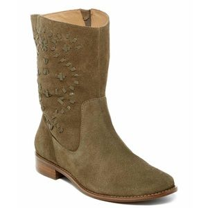 Jack Rogers Kaitlin Green Stitched Suede Boots